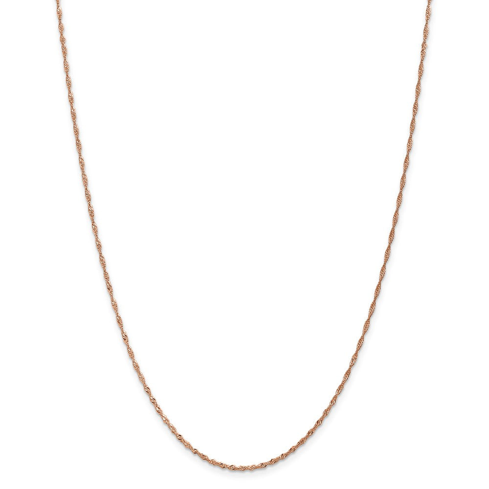 Alternate view of the 1mm 14K Rose Gold Solid Singapore Chain Necklace by The Black Bow Jewelry Co.