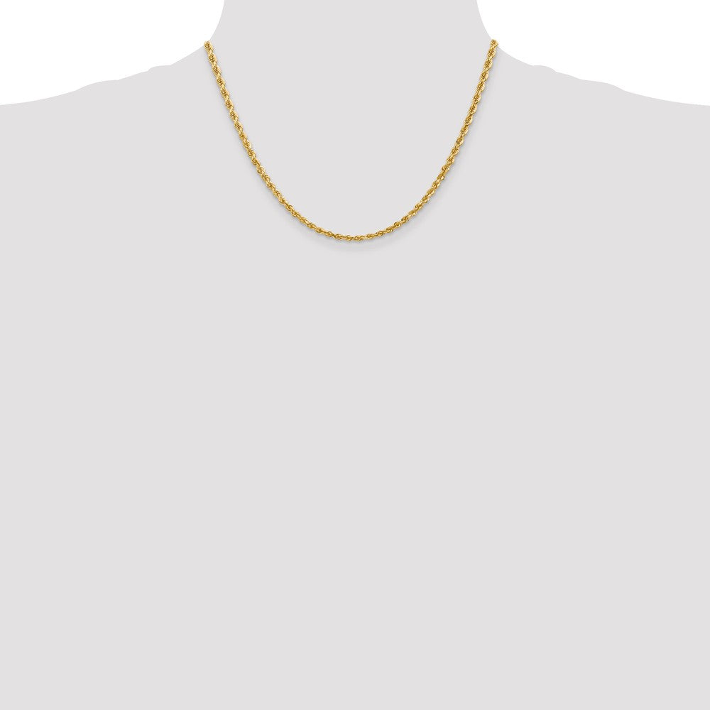 Alternate view of the 3.25mm 10k Yellow Gold D/C Quadruple Rope Chain Necklace by The Black Bow Jewelry Co.