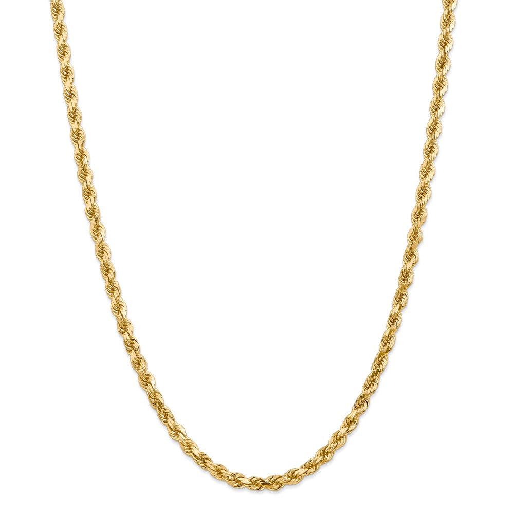 5mm 14k Yellow Gold Solid Diamond Cut Rope Chain Necklace