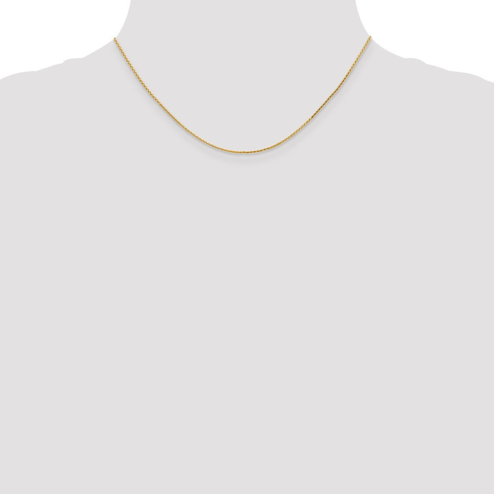 Alternate view of the 1mm 14k Yellow Gold Round D/C Solid Wheat Chain Necklace by The Black Bow Jewelry Co.