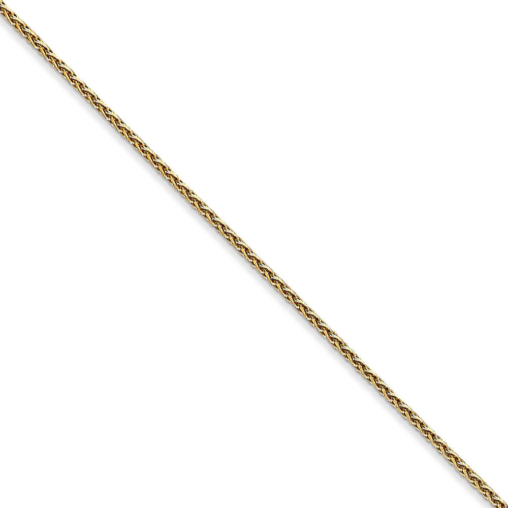 1mm 14k Yellow Gold Round D/C Solid Wheat Chain Necklace