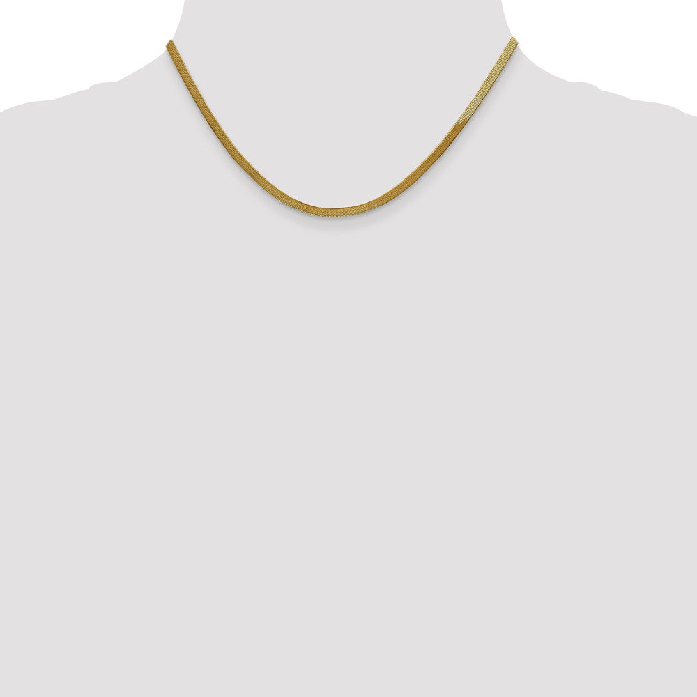 Alternate view of the 3mm 10k Yellow Gold Solid Herringbone Chain Necklace by The Black Bow Jewelry Co.