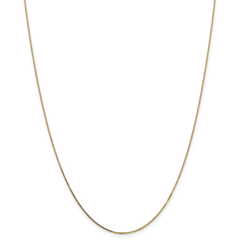 Alternate view of the 0.8mm 14k Yellow Gold Solid Box Chain Lobster Clasp Necklace by The Black Bow Jewelry Co.