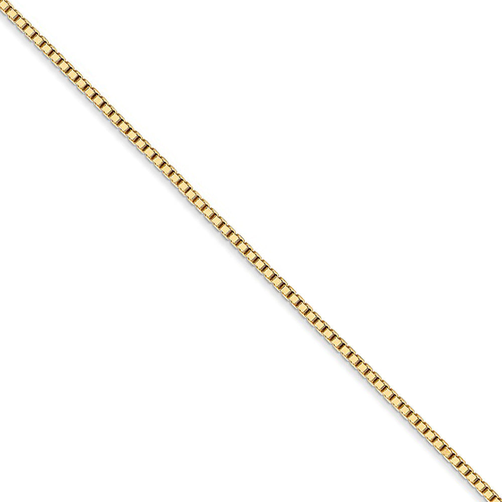 1.3mm 14k Yellow Gold Solid Box Chain Necklace - The Black Bow Jewelry Co.