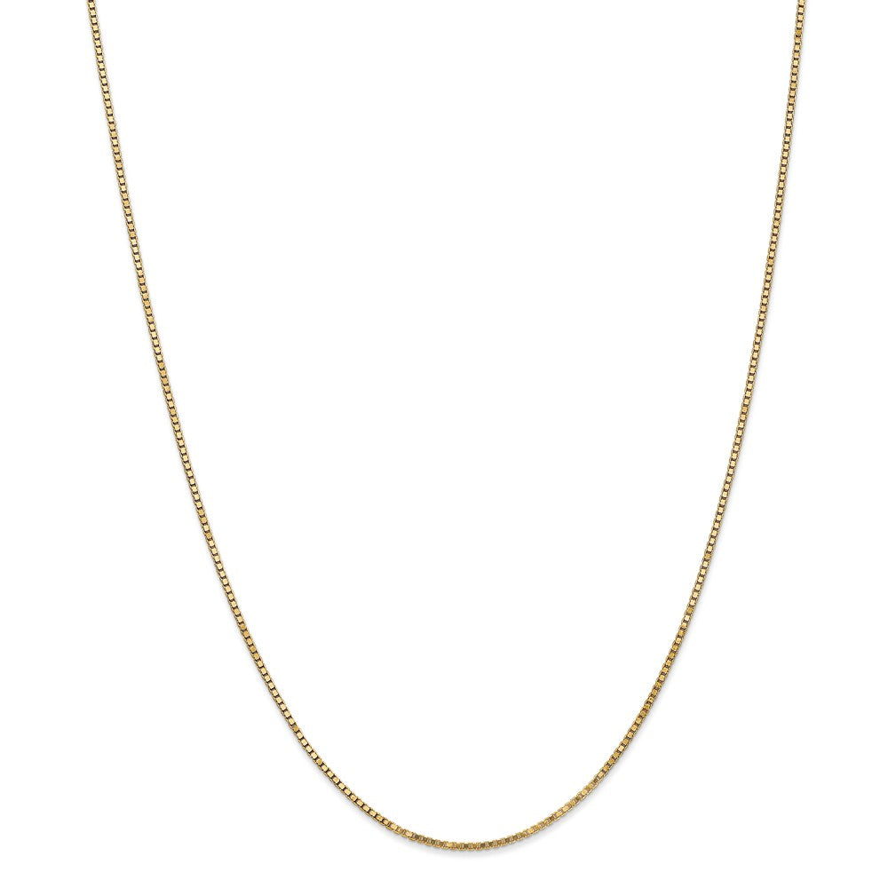 1.3mm 14k Yellow Gold Solid Box Chain Necklace