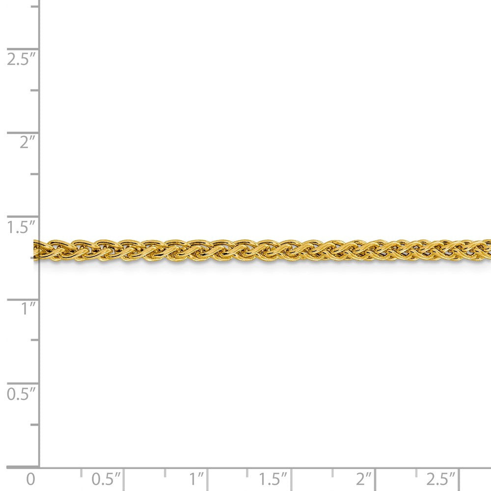 Alternate view of the 3.5mm 14k Yellow Gold Hollow Wheat Chain Necklace by The Black Bow Jewelry Co.