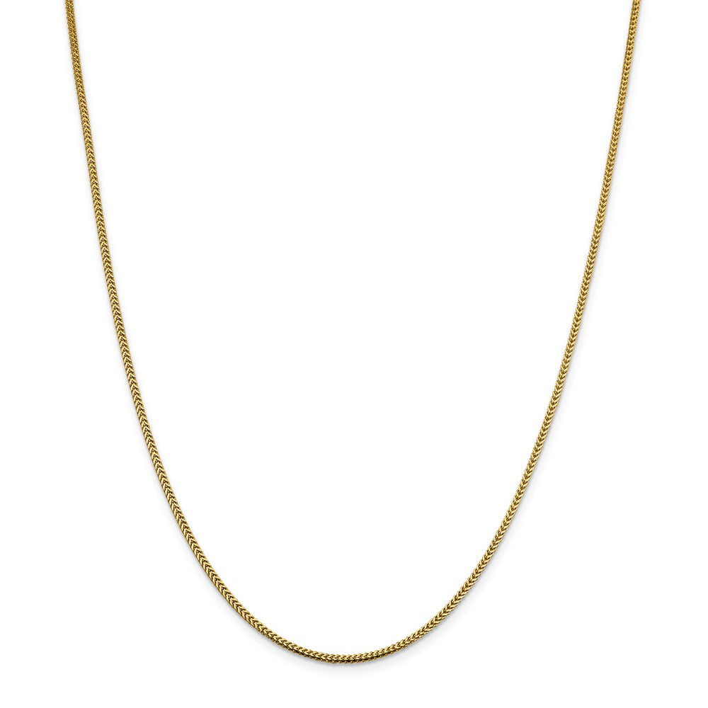 Alternate view of the 1.4mm 14k Yellow Gold Solid Franco Chain Necklace by The Black Bow Jewelry Co.