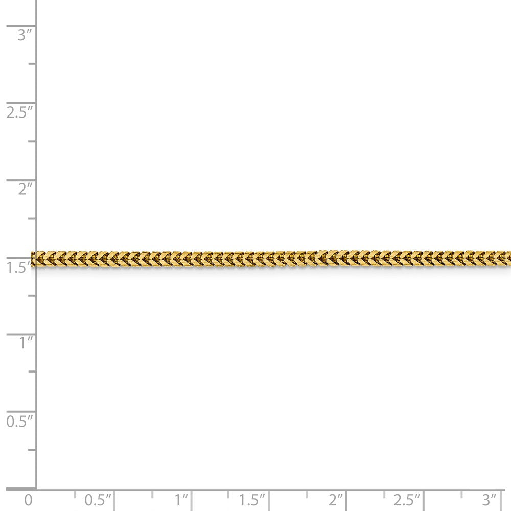 Alternate view of the 2.25mm 14k Yellow Gold Solid Franco Chain Necklace by The Black Bow Jewelry Co.