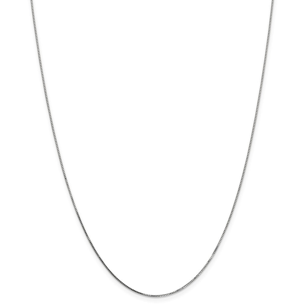 Alternate view of the 0.8mm 14K White Gold Solid Box Chain Necklace by The Black Bow Jewelry Co.