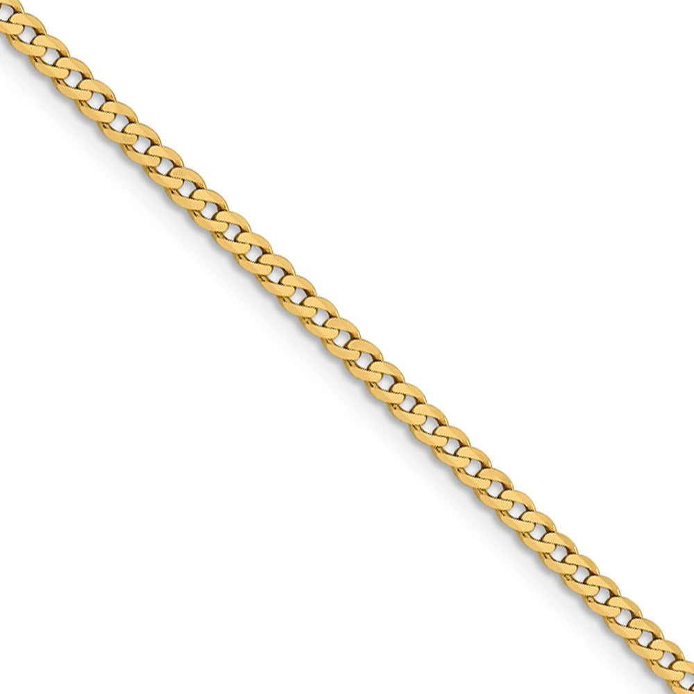2.25mm 14k Yellow Gold Solid Beveled Curb Chain Necklace - The Black Bow Jewelry Co.