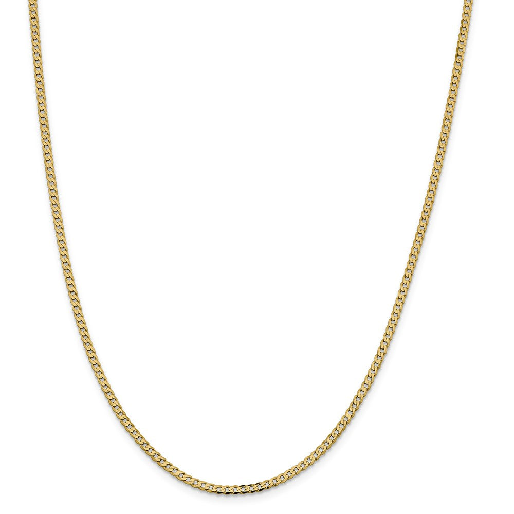 Alternate view of the 2.25mm 14k Yellow Gold Solid Beveled Curb Chain Necklace by The Black Bow Jewelry Co.