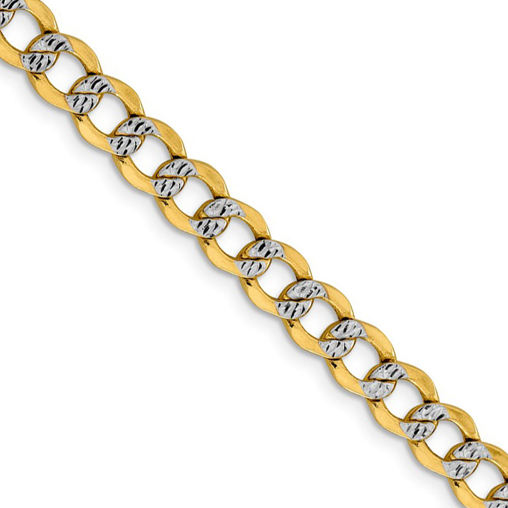 6.75mm 14k Yellow Gold & Rhodium Hollow Pave Curb Chain Necklace - The Black Bow Jewelry Co.