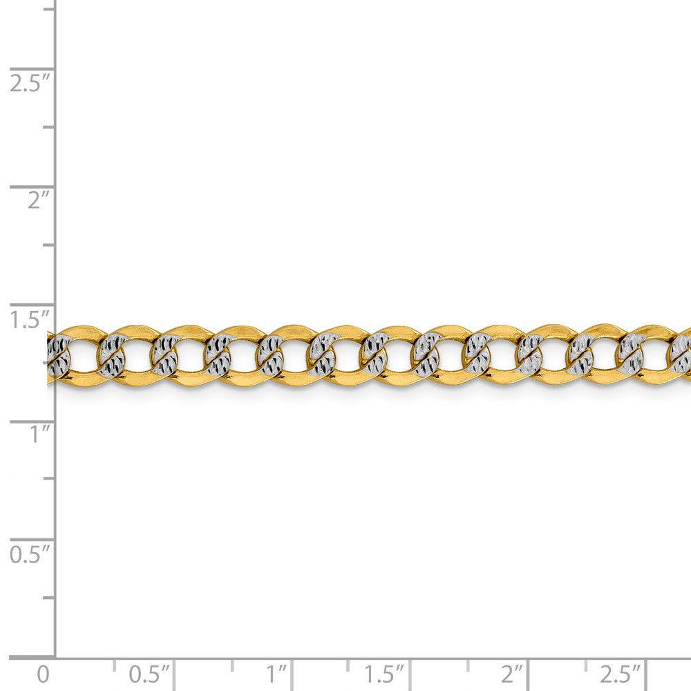 Alternate view of the 6.75mm 14k Yellow Gold & Rhodium Hollow Pave Curb Chain Necklace by The Black Bow Jewelry Co.