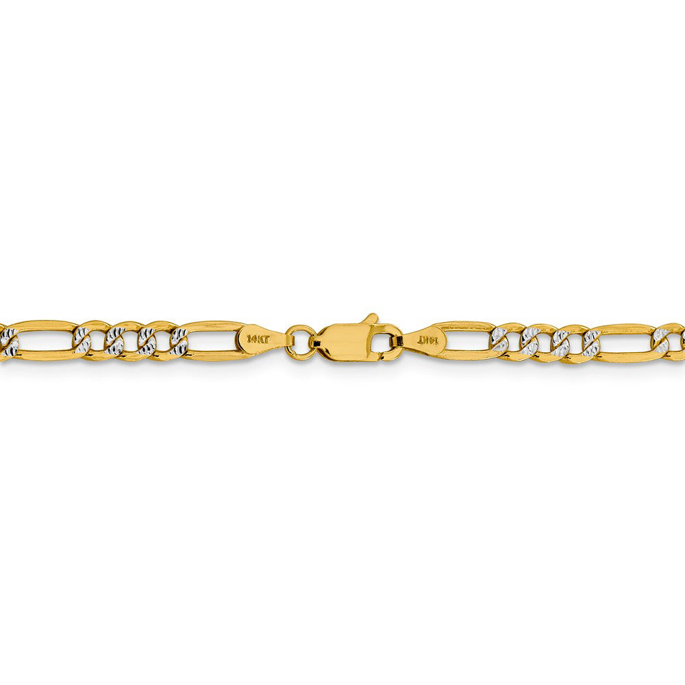 Alternate view of the 3.25mm 14k Yellow Gold & Rhodium Hollow Pave Figaro Chain Necklace by The Black Bow Jewelry Co.