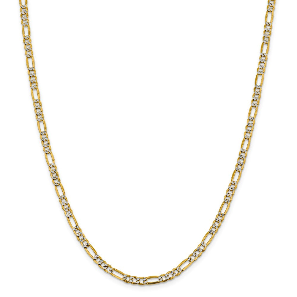 Alternate view of the 4mm 14k Yellow Gold & Rhodium Hollow Pave Figaro Chain Necklace by The Black Bow Jewelry Co.