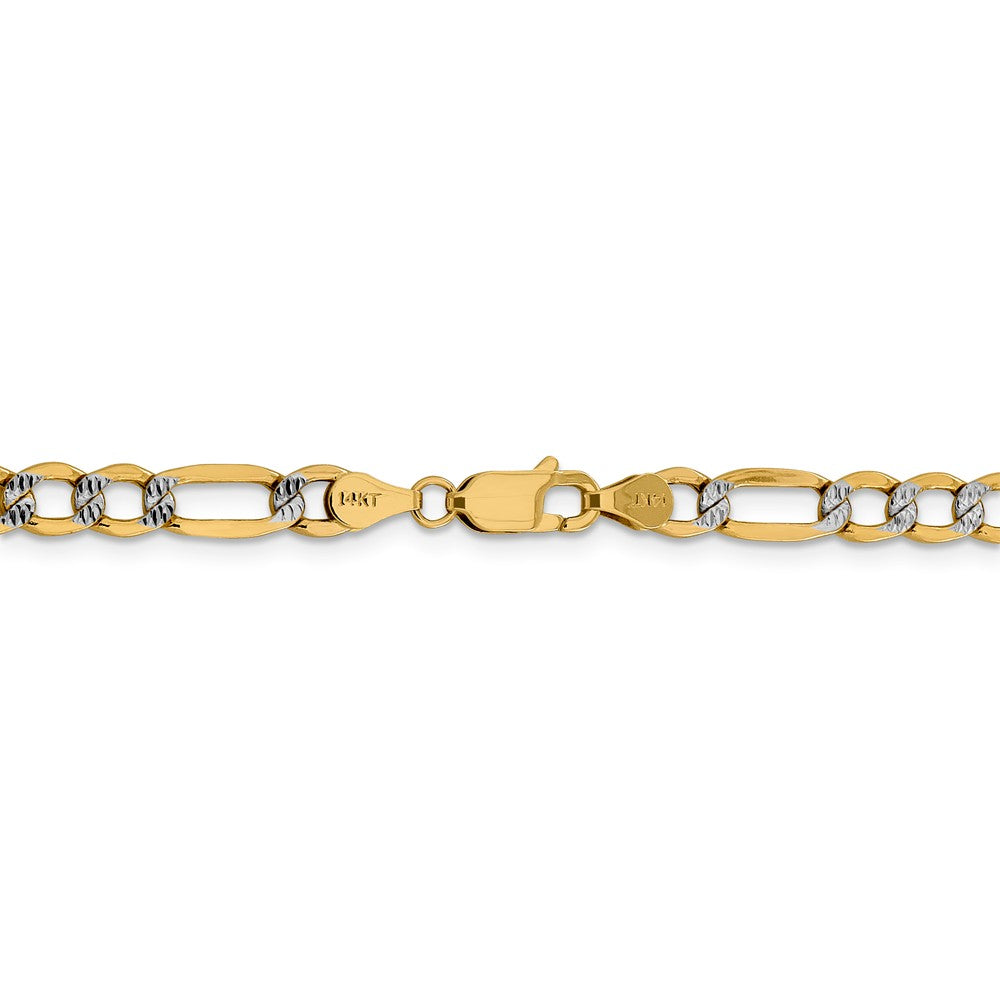 Alternate view of the 5.25mm 14k Yellow Gold & Rhodium Hollow Pave Figaro Chain Necklace by The Black Bow Jewelry Co.