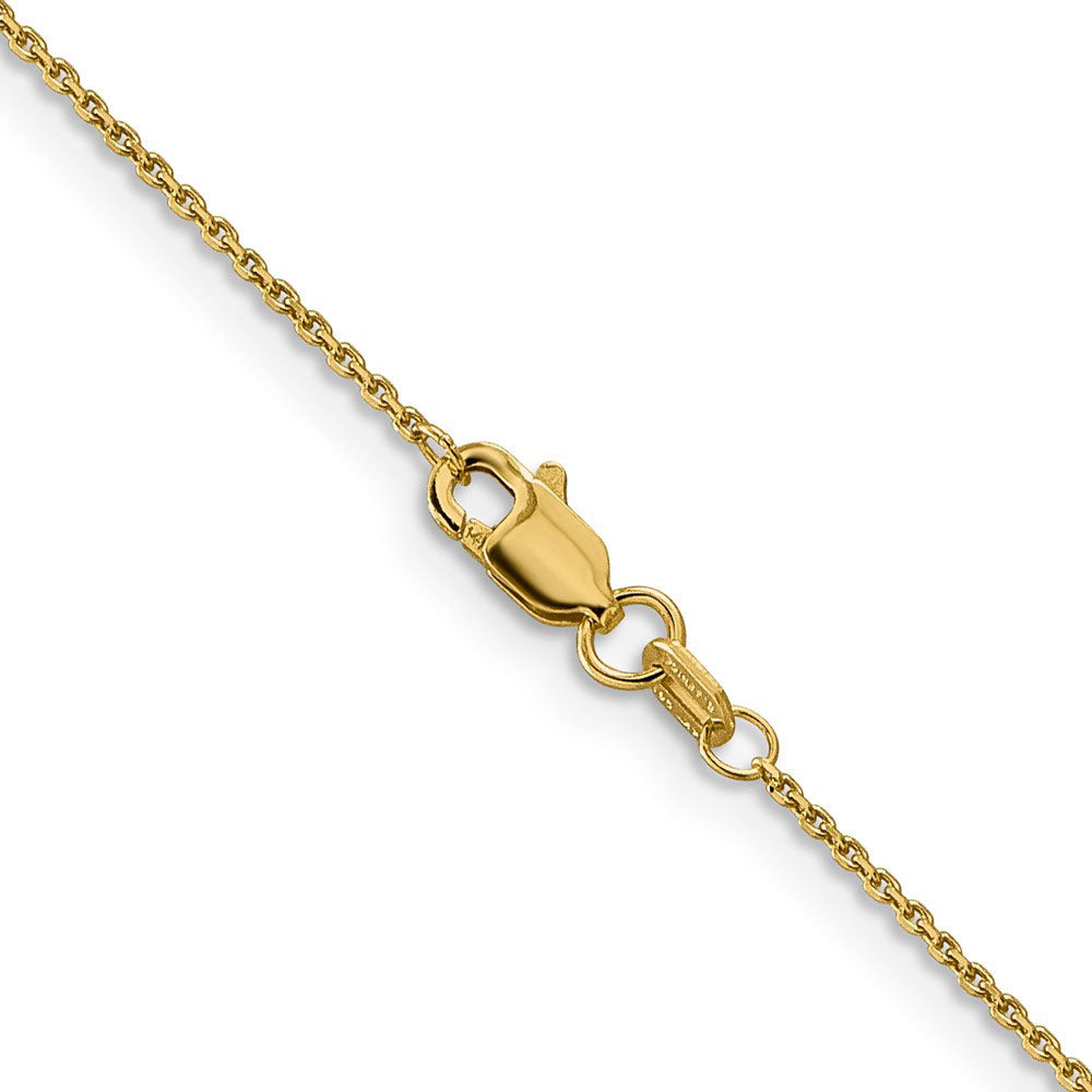 Alternate view of the 0.9mm 14k Yellow Gold Solid Diamond Cut Cable Chain Necklace by The Black Bow Jewelry Co.
