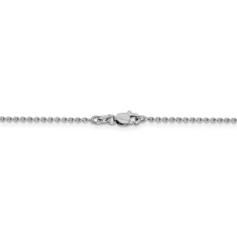 Alternate view of the 1.4mm 14k White Gold Solid Classic Cable Chain Necklace by The Black Bow Jewelry Co.