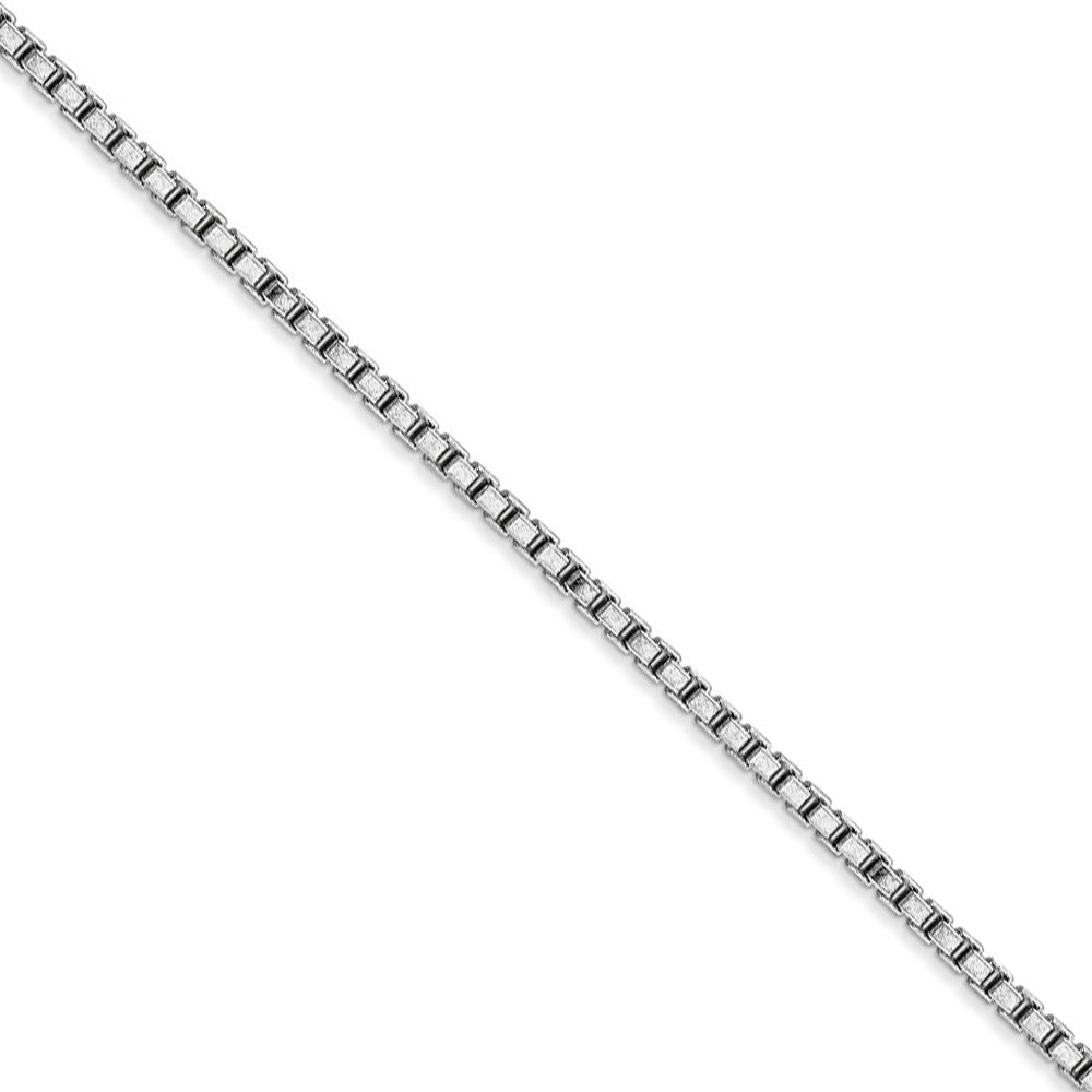 1.9mm 14k White Gold Solid Classic Box Chain Necklace - The Black Bow Jewelry Co.