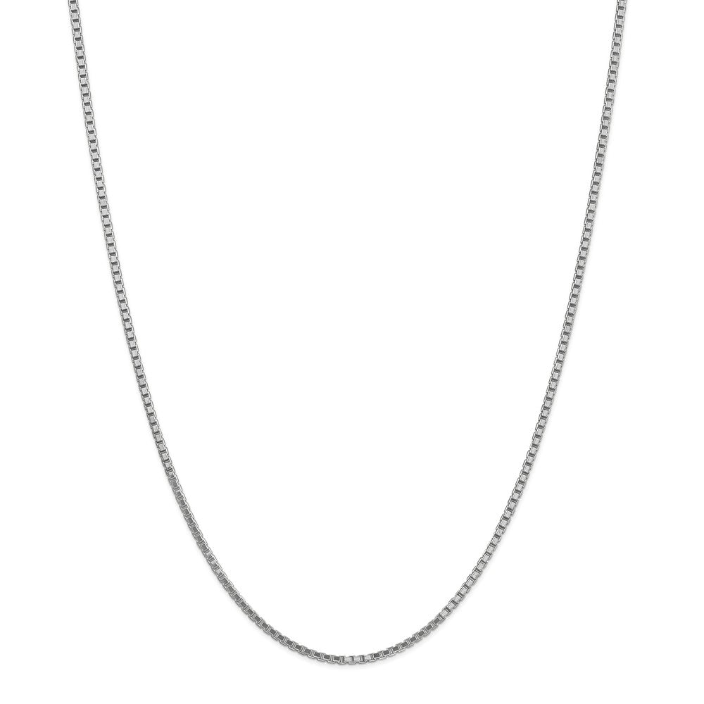 Alternate view of the 1.9mm 14k White Gold Solid Classic Box Chain Necklace by The Black Bow Jewelry Co.