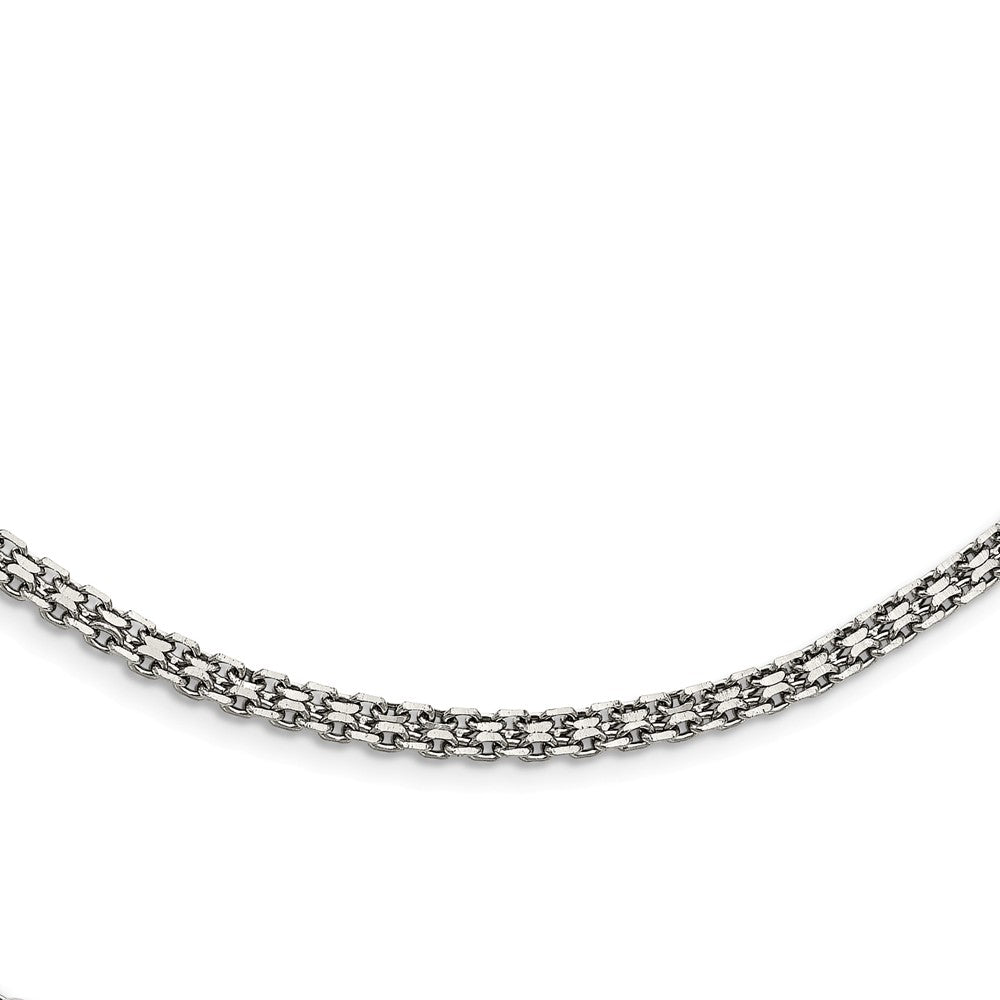 Alternate view of the 3mm Stainless Steel Bismark Mesh Chain Necklace by The Black Bow Jewelry Co.