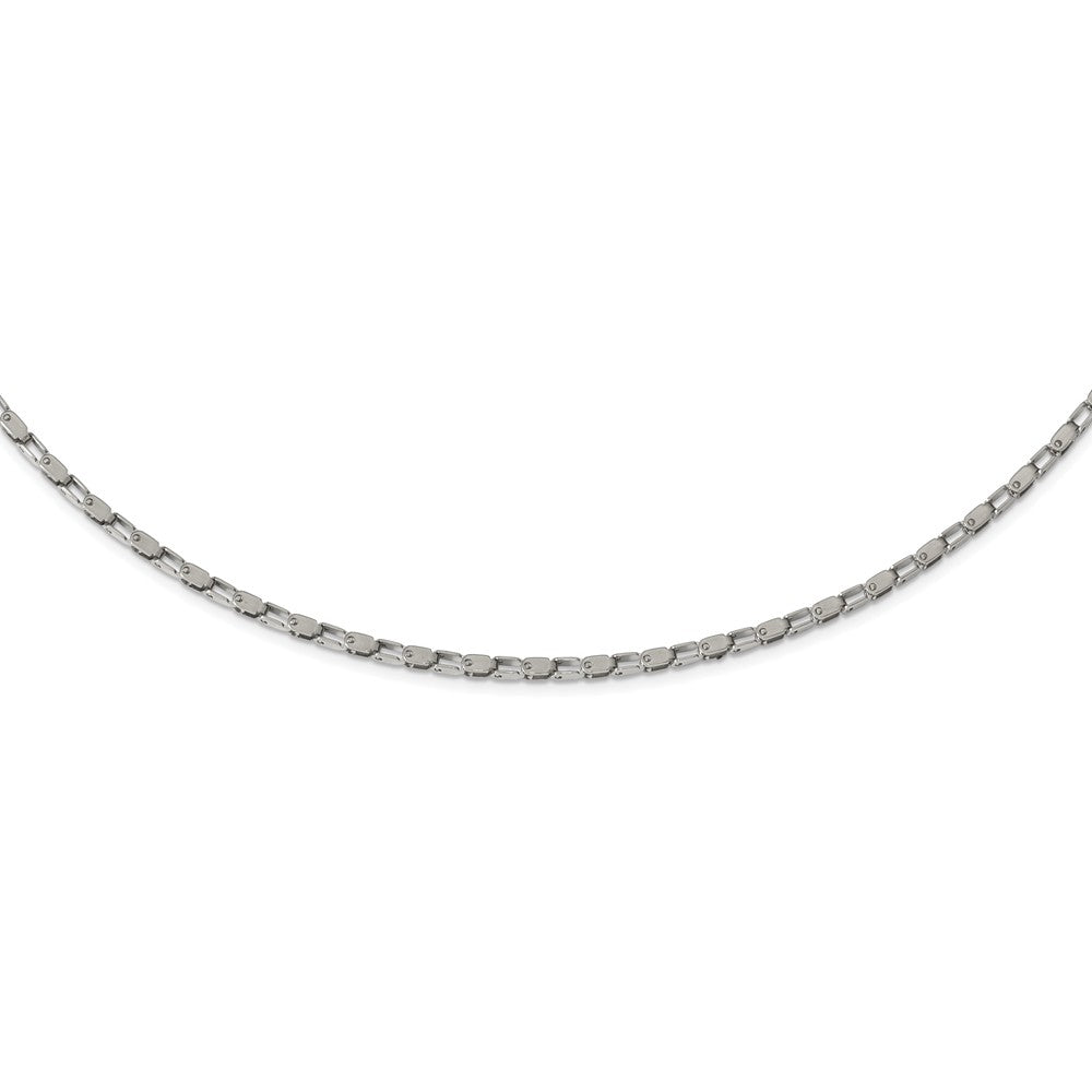 Alternate view of the 2.5mm Stainless Steel Polished Fancy Link Chain Necklace by The Black Bow Jewelry Co.