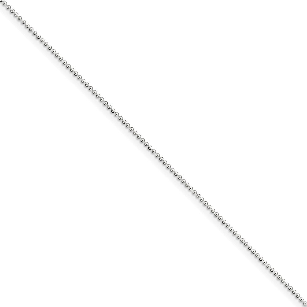 1 mm, Sterling Silver, Beaded Chain Anklet - 10 inch, Item C8019-10 by The Black Bow Jewelry Co.