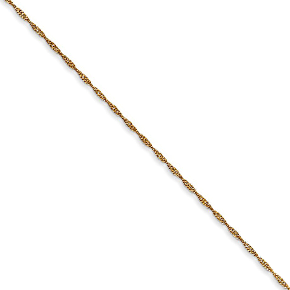 1mm, 14k Yellow Gold Diamond Cut Singapore Chain Necklace - The Black Bow Jewelry Co.