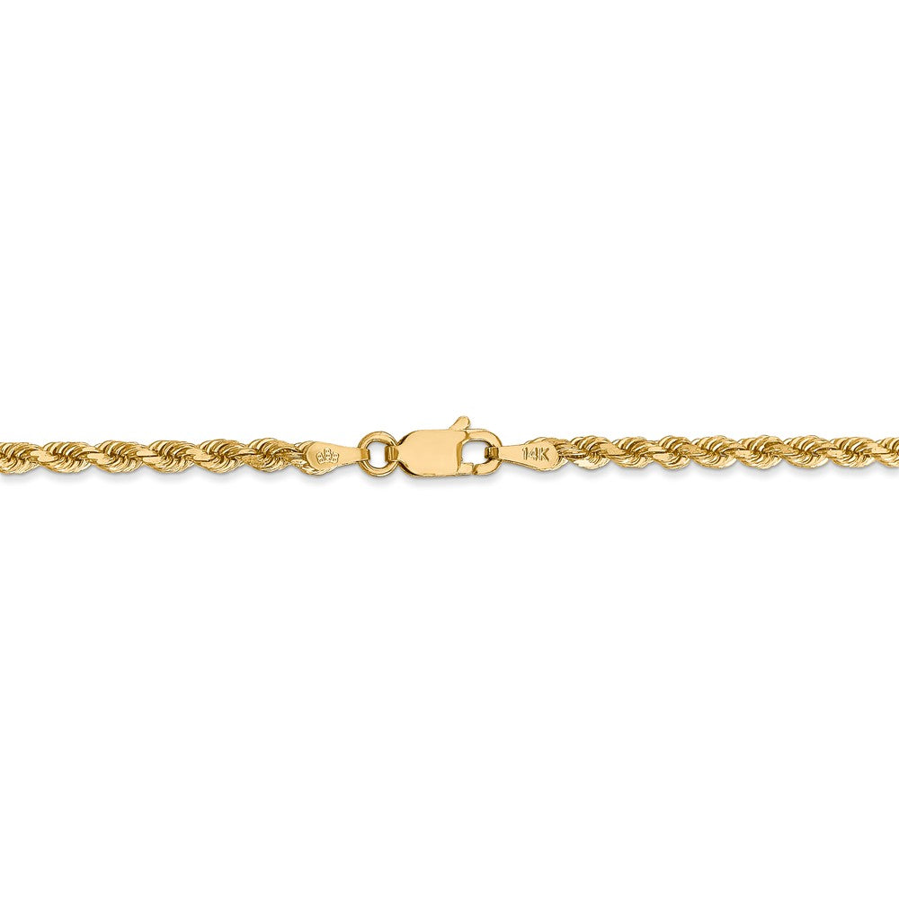 Alternate view of the 2.75mm 14k Yellow Gold, Diamond Cut Solid Rope Chain Necklace by The Black Bow Jewelry Co.