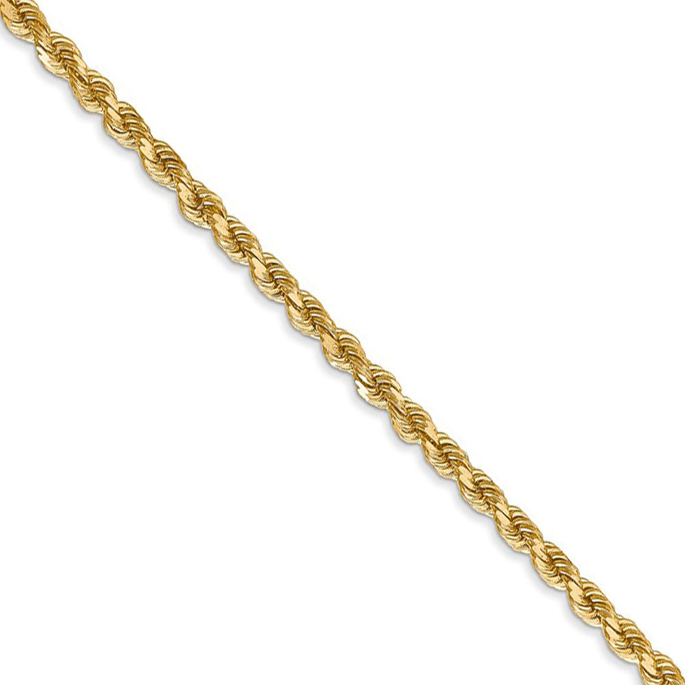 2.75mm 14k Yellow Gold, Diamond Cut Solid Rope Chain Necklace