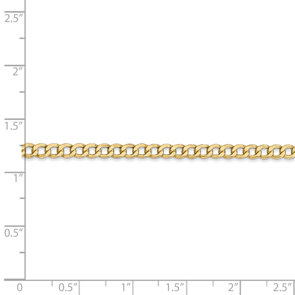 Alternate view of the 3.35mm, 14k Yellow Gold, Hollow Curb Link Chain Necklace by The Black Bow Jewelry Co.