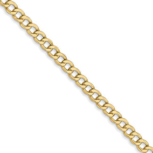 3.35mm, 14k Yellow Gold, Hollow Curb Link Chain Necklace