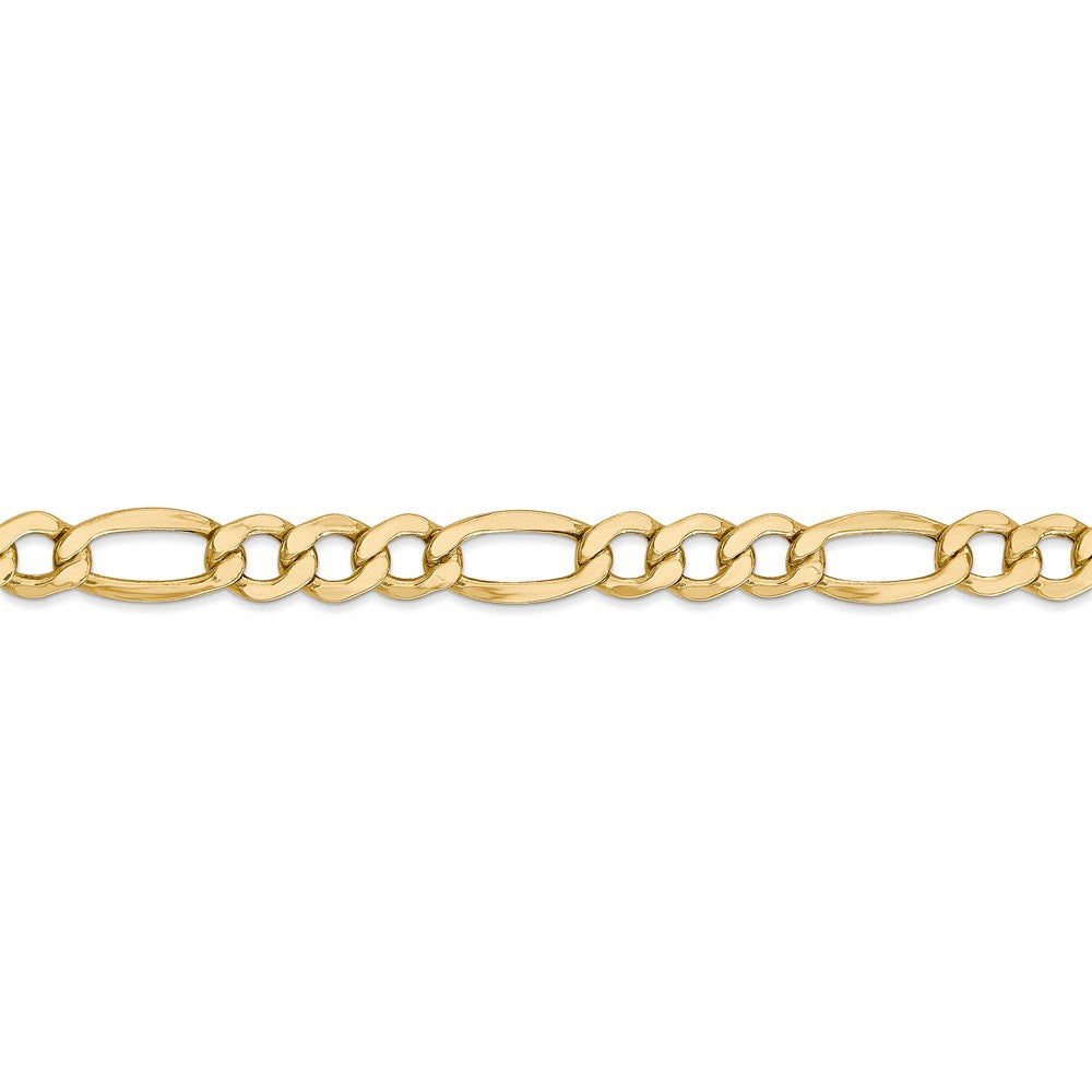 Alternate view of the Men's 7.3mm, 14k Yellow Gold, Hollow Figaro Chain Bracelet by The Black Bow Jewelry Co.