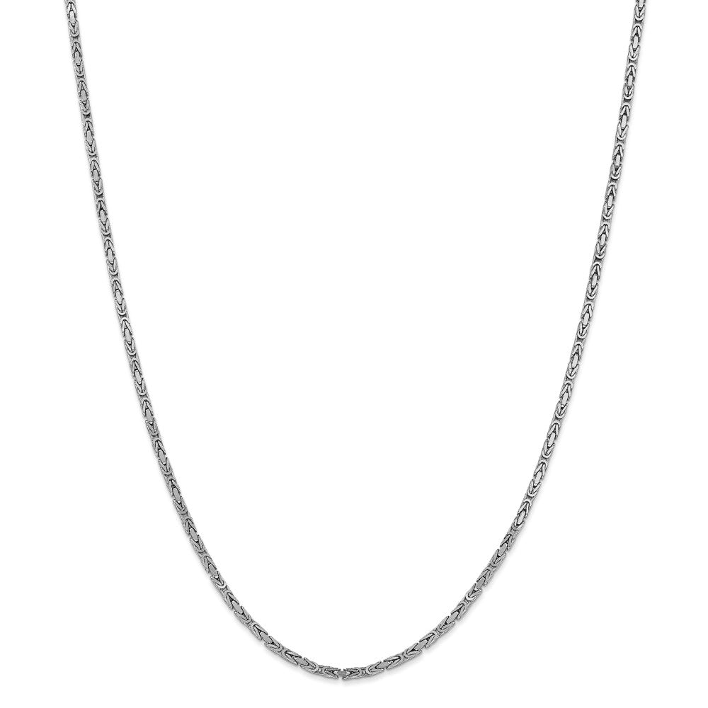 Alternate view of the 2mm, 14k White Gold, Solid Byzantine Chain Necklace by The Black Bow Jewelry Co.