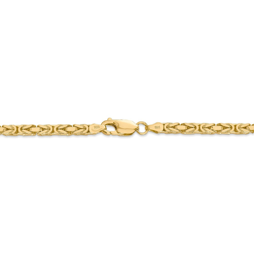 Alternate view of the 3.25mm, 14k Yellow Gold, Solid Byzantine Chain Bracelet by The Black Bow Jewelry Co.