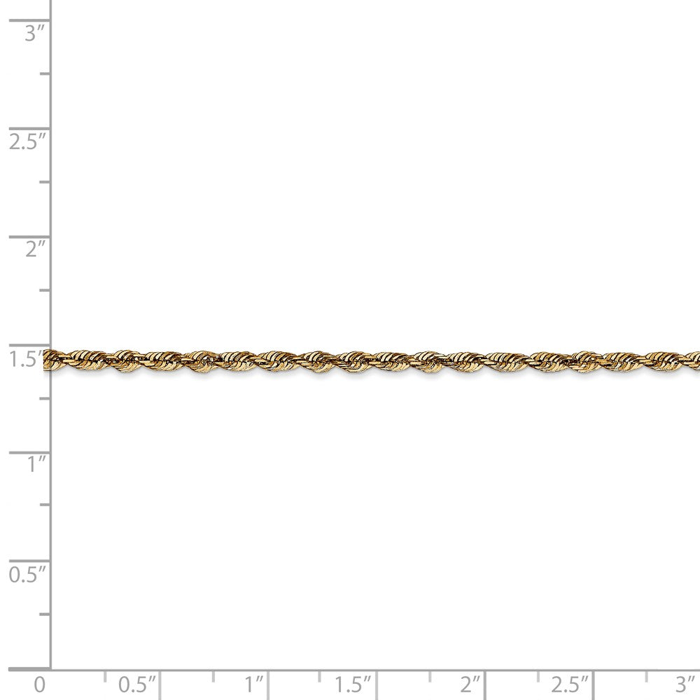 Alternate view of the 2.5mm, 14k Yellow Gold Light Diamond Cut Rope Chain Anklet by The Black Bow Jewelry Co.