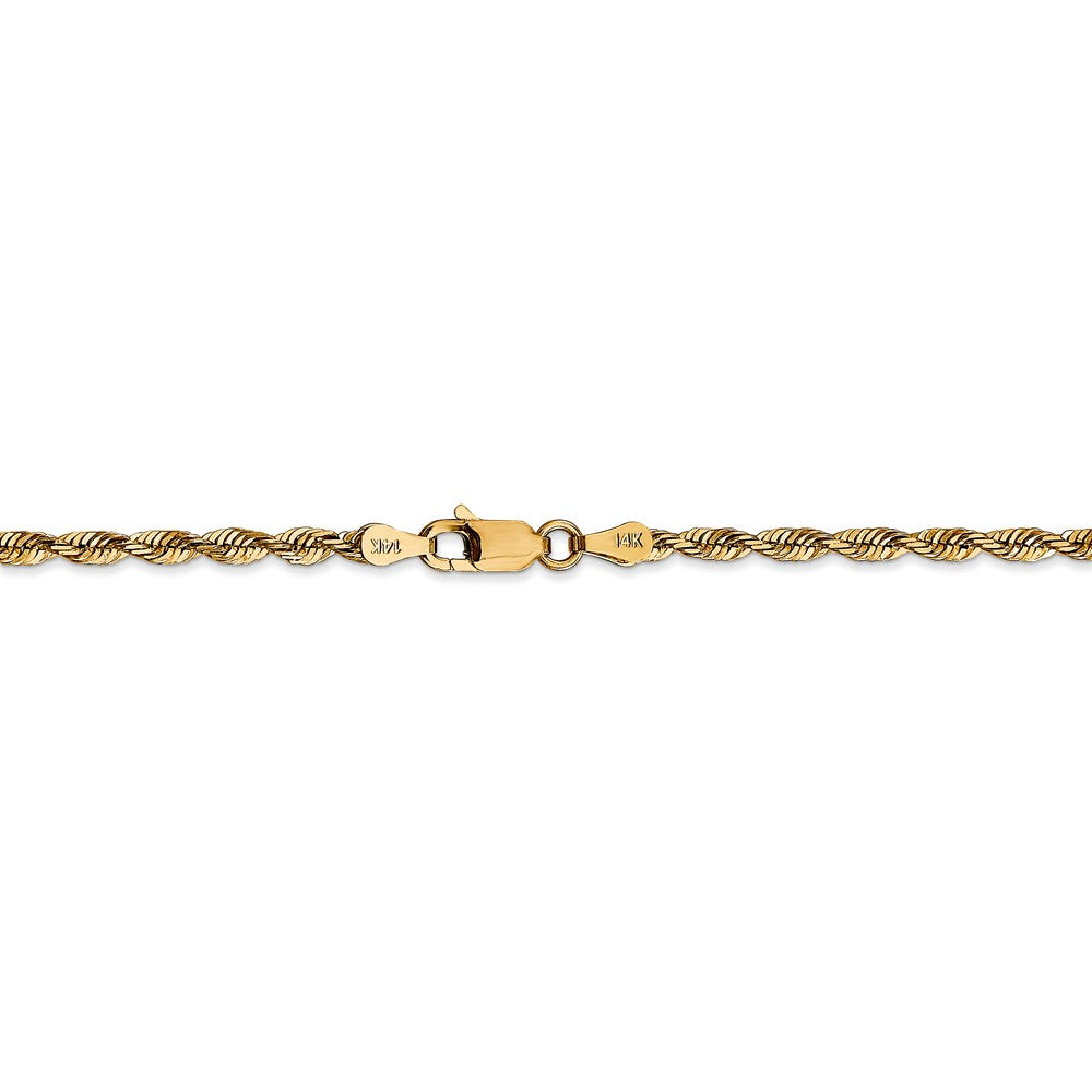 Alternate view of the 2.75mm, 14k Yellow Gold Light Diamond Cut Rope Chain Anklet by The Black Bow Jewelry Co.
