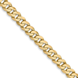 4.75mm, 14k Yellow Gold, Solid Beveled Curb Chain Necklace - The Black Bow Jewelry Co.