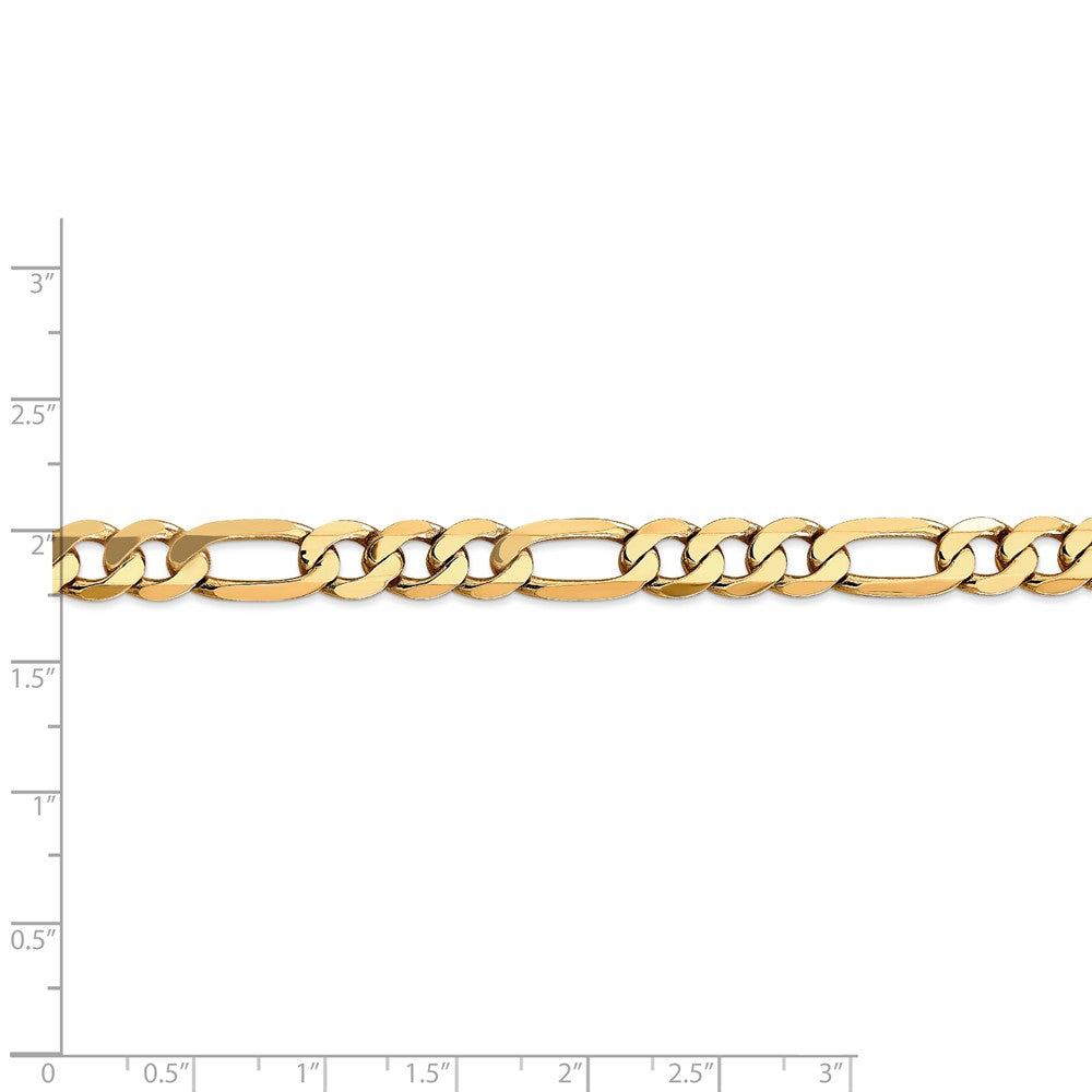 Alternate view of the Men's 7.5mm, 14k Yellow Gold, Flat Figaro Chain Necklace by The Black Bow Jewelry Co.