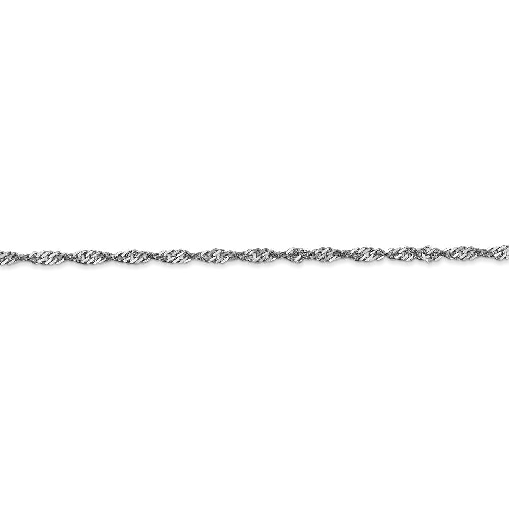 Alternate view of the 2mm, 14k White Gold, Diamond Cut Singapore Chain Bracelet, 7 Inch by The Black Bow Jewelry Co.