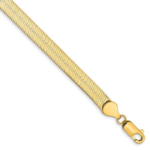 5.5mm, 14k Yellow Gold, Solid Herringbone Chain Bracelet, 7 Inch - The Black Bow Jewelry Co.