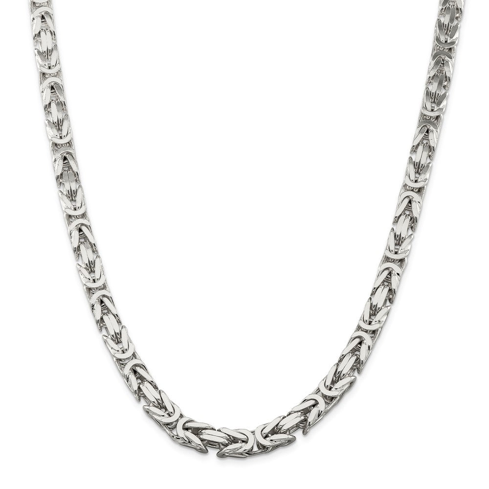 Alternate view of the Mens 8.25mm Sterling Silver Square Solid Byzantine Necklace by The Black Bow Jewelry Co.