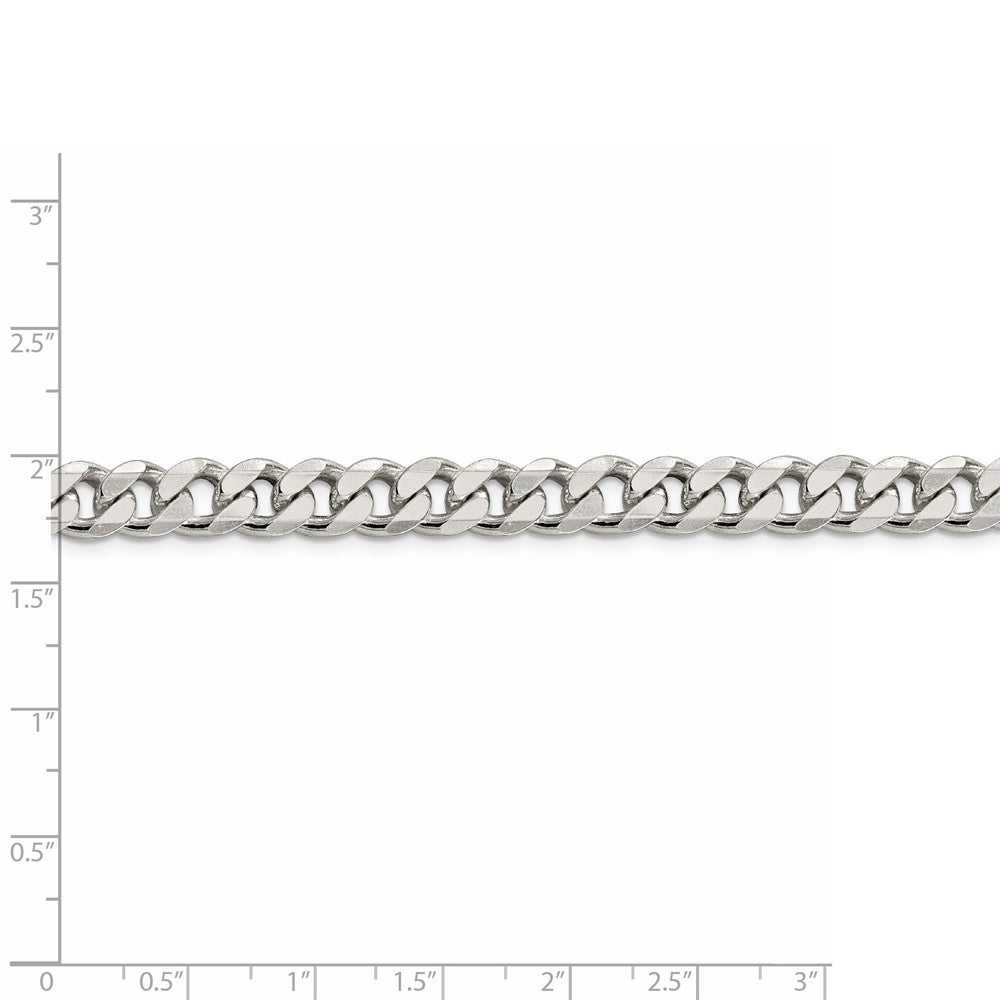 """Details about  /Sterling Silver Solid 8mm Concave Beveled Curb Bracelet w// Lobster Clasp 7/"""" 9/"""""""