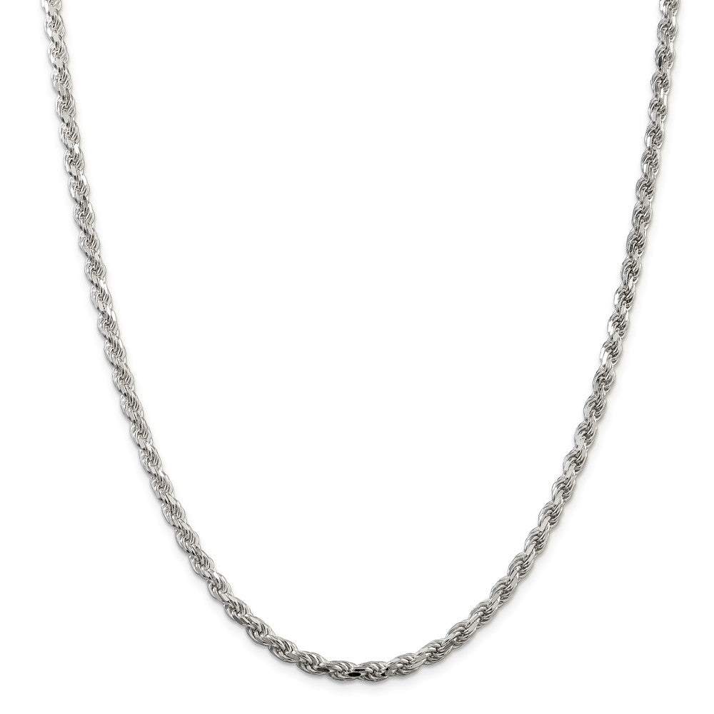 Alternate view of the 4.25mm Sterling Silver Diamond Cut Solid Rope Chain Necklace by The Black Bow Jewelry Co.