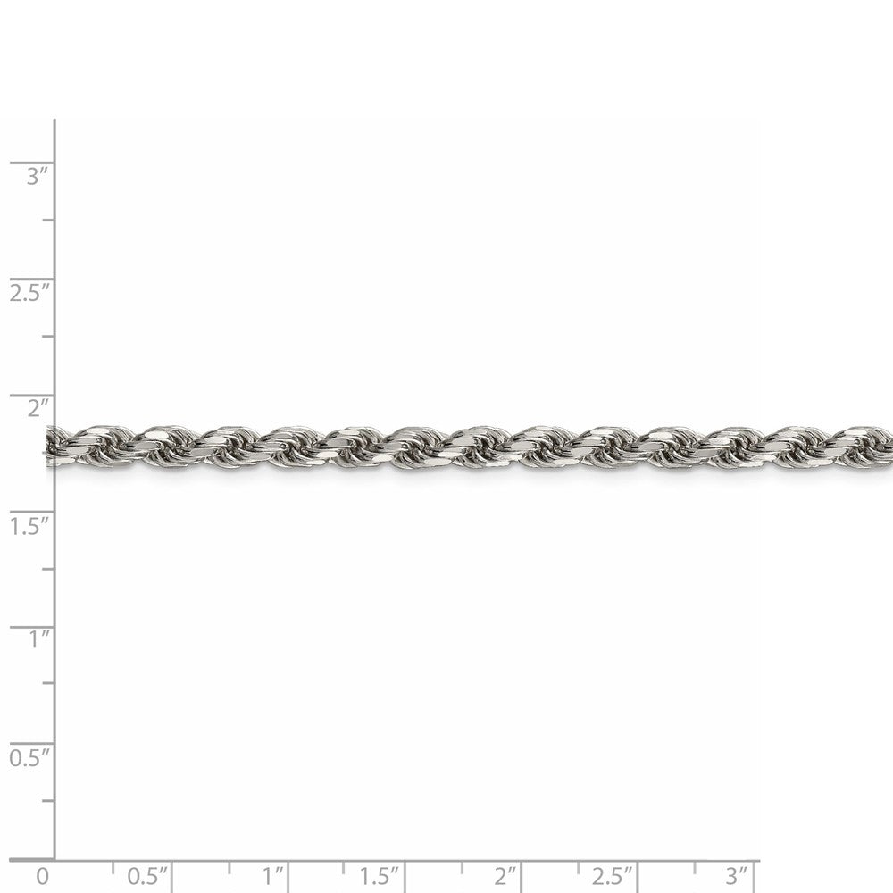 Alternate view of the 4.75mm, Sterling Silver Diamond Cut Solid Rope Chain Bracelet by The Black Bow Jewelry Co.