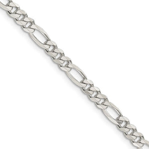 4.75mm, Sterling Silver, Pave Flat Figaro Chain Necklace - The Black Bow Jewelry Co.