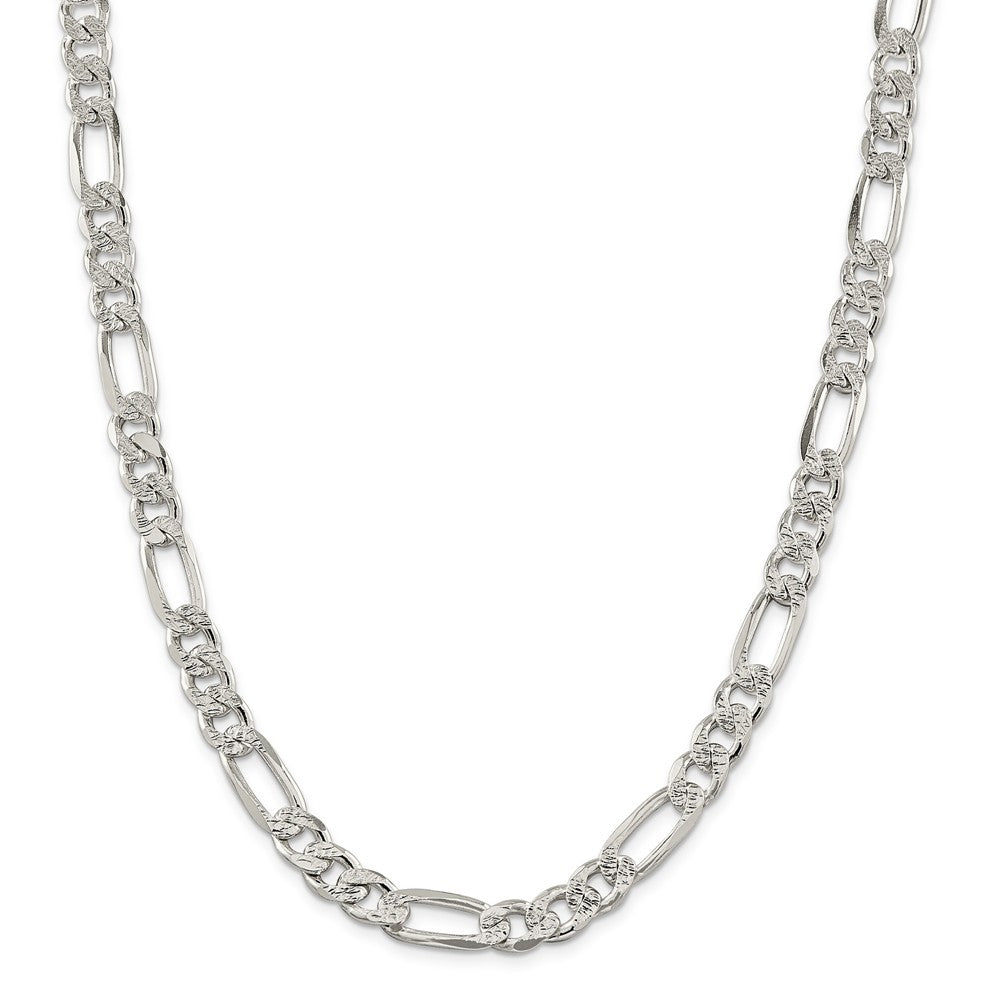 Alternate view of the Men's 9.5mm Sterling Silver Pave Flat Figaro Chain Necklace by The Black Bow Jewelry Co.