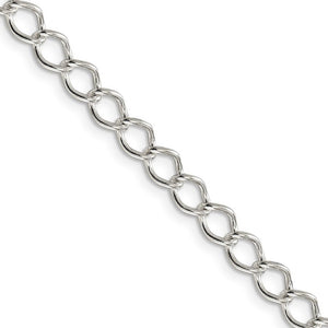 5.75mm Sterling Silver Solid Fancy Open Curb Chain Necklace - The Black Bow Jewelry Co.