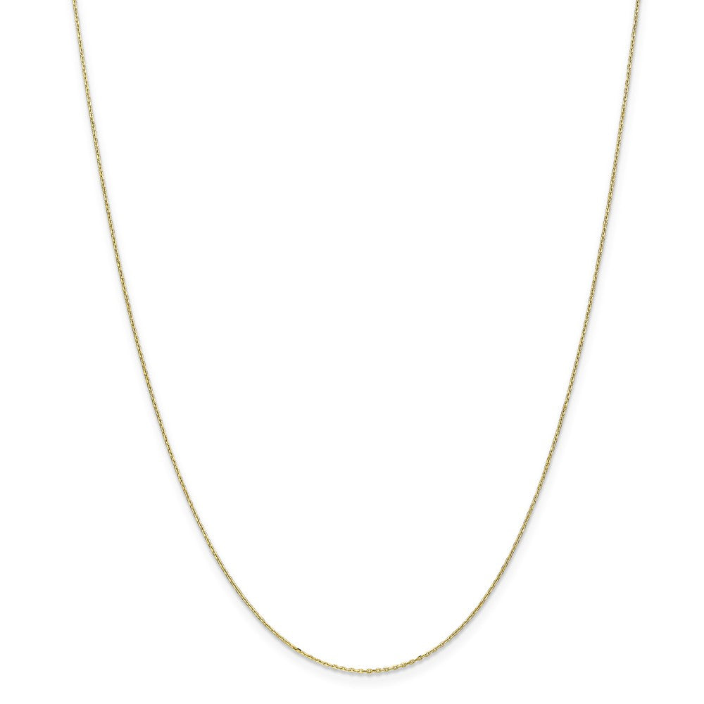 Alternate view of the 0.8mm, 10k Yellow Gold, Diamond Cut Cable Chain Necklace by The Black Bow Jewelry Co.