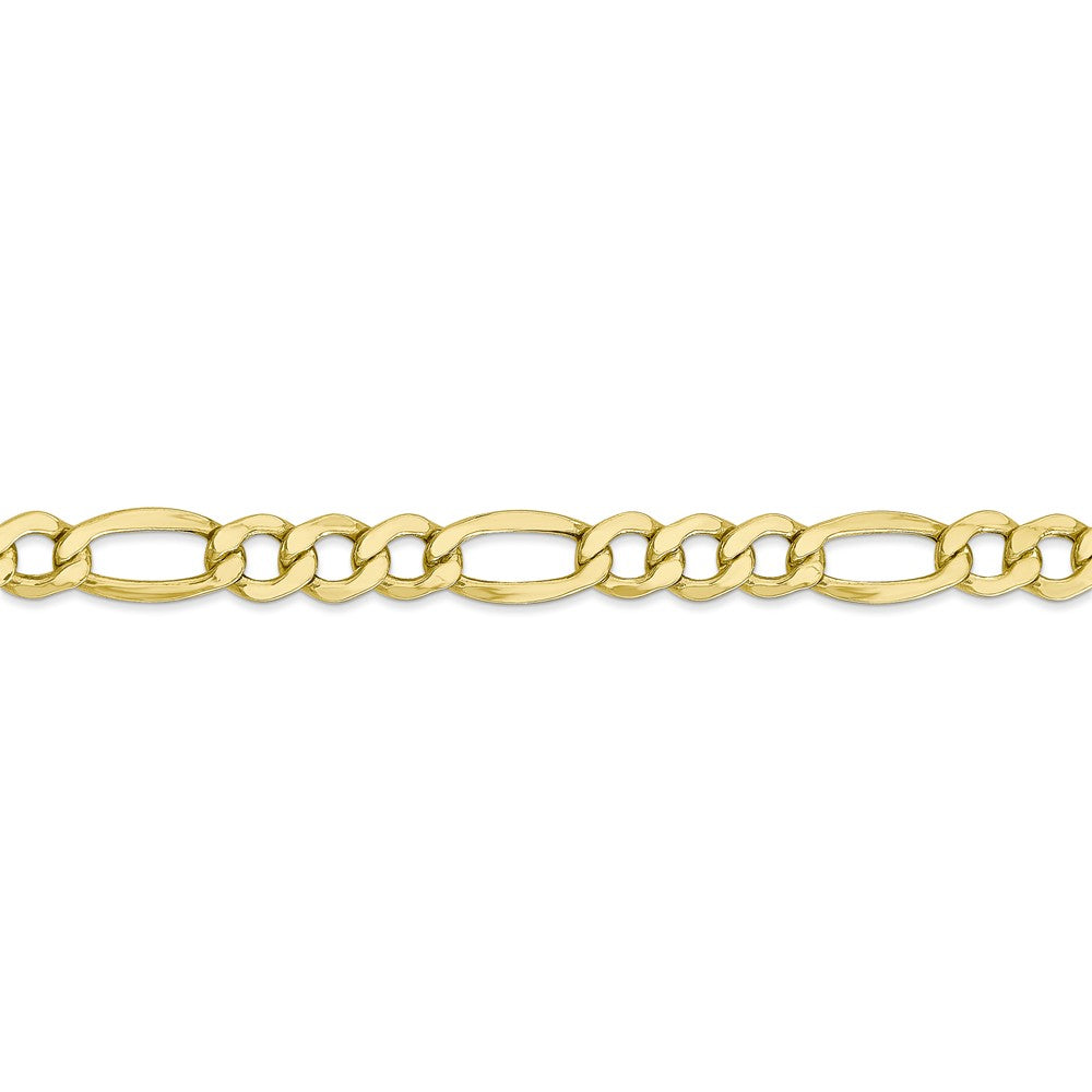 Alternate view of the Men's 7.3mm, 10k Yellow Gold Hollow Figaro Chain Bracelet by The Black Bow Jewelry Co.